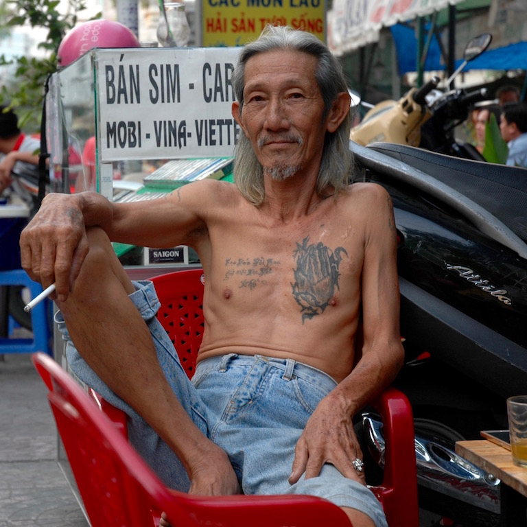 A man relaxing in Saigon